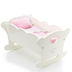 twinn doll wooden cradle soft pink