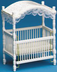 dollhouse miniature white canopy crib adjustable