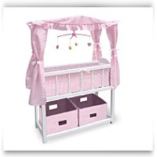Buy Now Canopy Doll Crib With Baskets Bedding