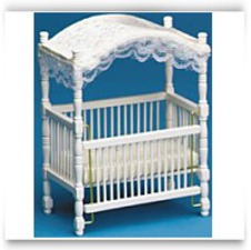 Dollhouse Miniature White Canopy Crib