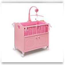 Pink Doll Crib With Cabinetbeddingmobilewheels
