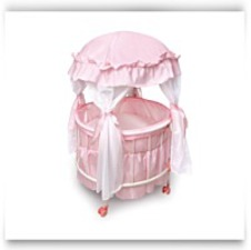 Royal Pavilion Round Doll Crib With Canopy