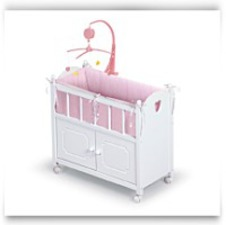 White Doll Crib With Cabinet Bedding