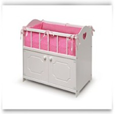 Buy Now White Storage Doll Crib With Bedding
