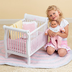 twinn doll wooden crib soft pink