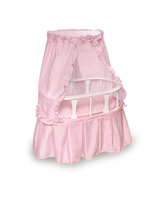 Oval Doll Bassinet With Canopy And Pink